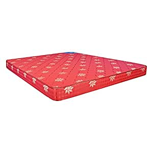 Centuary Mattresses 5-Inch Single Size Rubberised Coir Mattress (Maroon, 72X36X5) With One Pillow