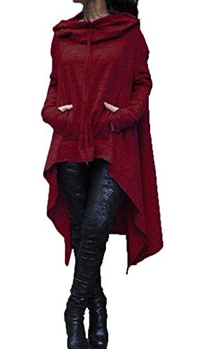 Herbst Winter Kapuzenpullover Damen Kapuzen Langarm Normallacks Unregelmäßige Sweatshirt Pullover Kapuzenshirt Kapuzenpullis Kapuzenjacke Hoodie Rot