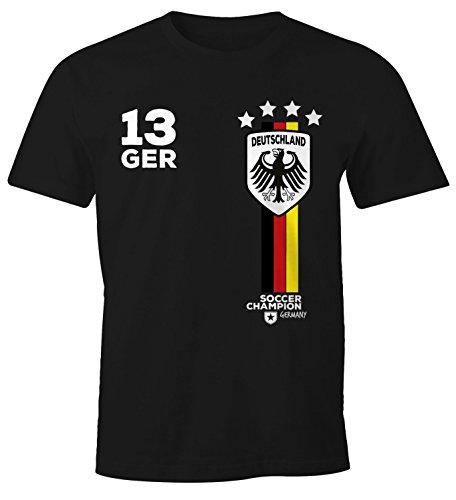 MoonWorks Herren T-Shirt Fanshirt Deutschland Trikot EM WM Fußball Germany Fan Shirt schwarz 4XL