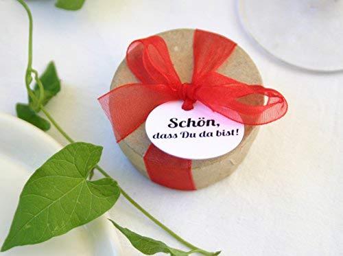 Die Seedball-Manufaktur Die DASS Du da bist mit chilifarbener Schleife Gastgeschenk mit Blumensamen und Anhänger Schön, Naturfarbene Dose mit hellroter, 5 cm im Durchmesser (Bezahlung Für Artikel In Den Warenkorb)