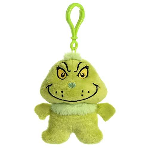 (Dr. Seuss 15908 Aurora World The Grinch Plüsch Schlüsselclip, grün, 11 cm)