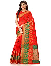 Royal Export Women's Red Cotton Silk Saree (Red)