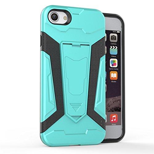 Apple iPhone 7 Plus 5.5 Hülle, Voguecase 2 in 1 Case Hybrid Hülle Bumper Hart PC Case Tasche Schutzhülle Handyhülle mit TPU Rückseite Cover (Armored Halterung-Grau) + Gratis Universal Eingabestift Armored Halterung-Grün