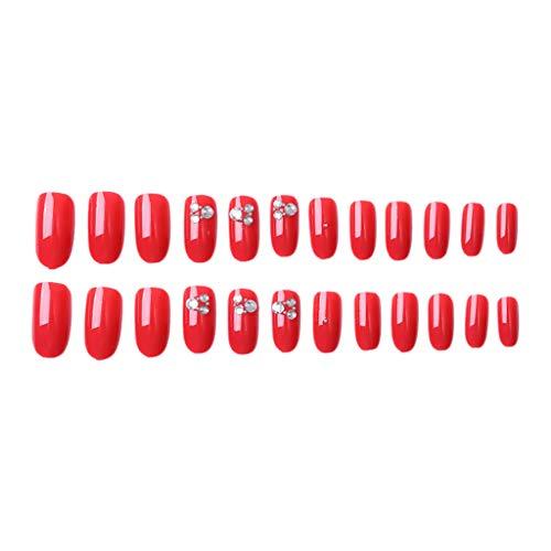 Falsche Nägel-16 Stile Gefälschte Nägel, Natürliche Nail Sticker Tattoo, Künstliche Fingernägel False Nail Tips, Fruchtgel Nagel Abnehmbar Wiederverwendbar, Sichere Nagel Patch (E) - Für Nägel Gefälschte Kinder