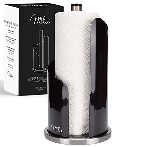 Milu Küchenrollenhalter Stehend Papierrollenhalter Küche stehender Rollenhalter aus Edelstahl, Küchenrollenhalterung ohne Bohren Geschenkverpackung - 30cm (Black)