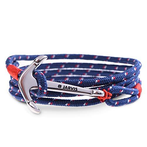 Captain Jarvis Anker Armband für Männer & Frauen - maritimes Ankerarmband inkl. Beutel Geschenkverpackung - Model Santa Monica in blau rot