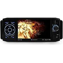 "auna MVD-420 autorradio con pantalla tactil 4,3"" abatible (DVD, Bluetooh, USB, SD, reproductor multimedia, panel desmontable, DIN simple, AUX frontal, FM, micrófono integrado)"