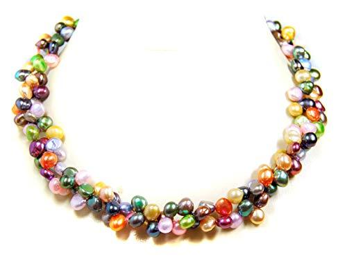 Perlenkette aus Zucht Süsswasserperlen Bunte Farben gemischt zweireihig
