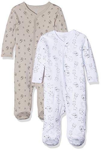 Care Unisex Baby Strampler 4136, 2er Pack, Gr. 56, Grau (Paloma 164)