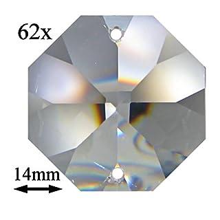 62x Regenbogenkristall Octagon ~ Koppe 14mm 2 Loch Crystal 30% PbO ~ Feng Shui Kronleuchter Lüster (14mm)