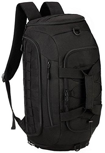 DCCN Sport Duffle Bag Tactical, 3in1 Sporttasche Reisetasche mit Schuhfach, Tarkischer Rucksack Handgepäck Weekender Schwarz