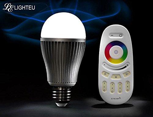 3x WLAN LED Lampe original LIGHTEU@ Color RGB- Warm Weiß, 9 Watt, E27, dimmbar, mit 4 zone Fernbedienung, Farbwechsel Glühbirne, inkl. WLAN Controller steuerbar über IPhone / Android App, 2 stk. VARTA AAA