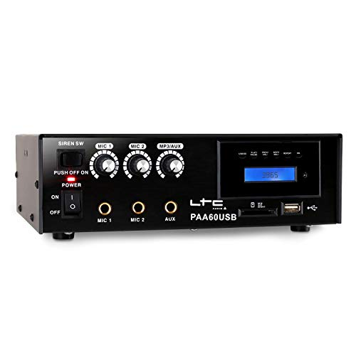 Mobiler LTC PA-Verstärker Endstufe USB-MP3 Mikrofon 12V / 220V Betrieb