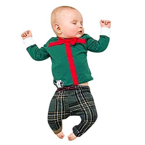 DIASTR Weihnachts Outfits Jungen Mädchen Weihnachten Santa Geschenk Tops Plaid Hose Winter Kleidung Outfits Set für 6 Monate -4 Jahre (Fett Kostüm Für Jungs)