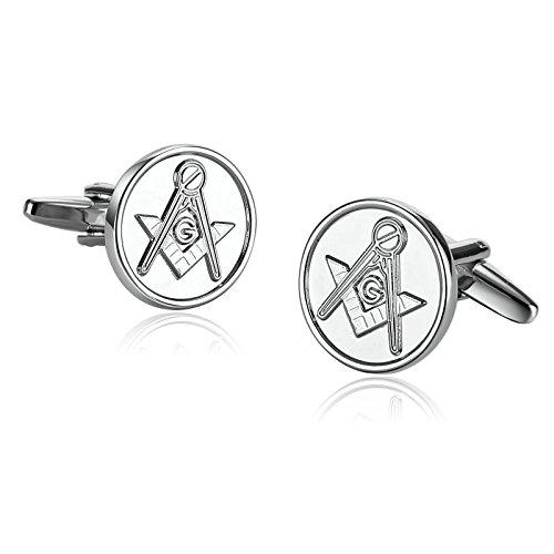 AAJewels Manschettenknöpfe-Männer Edelstahl Masonic Freemason Compass Round stulpelinks Silver