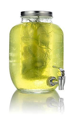Mary Ω kitchen tools dispenser per bevande in vetro da 4 litri con inserto per frutta, con rubinetto, erogatore per acqua, dispenser per limonate, dispenser per succo e recipienti