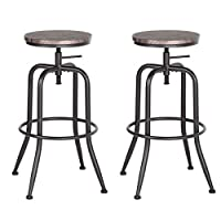 Aingoo Set of 2 Bar Stools Vintage Height Adjustable Industrial Bistro Pub Kitchen Counter Bar Stool Chair Brown