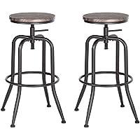 Aingoo Vintage Bar Tabouret Jeu de 2 Hauteur réglable en Bois de métal Design Industriel Bistro pub Chaise Brun foncé