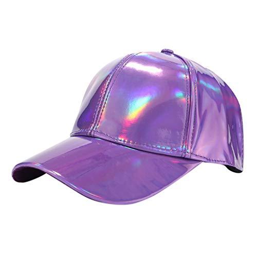 Dasongff Mode Frauen Männer Baseballkappe Einstellbare Leder Baseball Cap Hip Hop Hüte Lässige Outdoor Kappe Mütze (Lila-B) (Minion Hund Lila Kostüm)