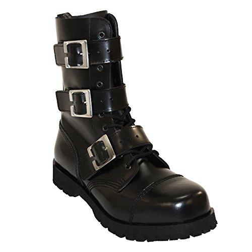 Boots & Braces - 10 Loch 3 Buckle Zip schwarz Stiefel Rangers Schwarz Schnallen Noir