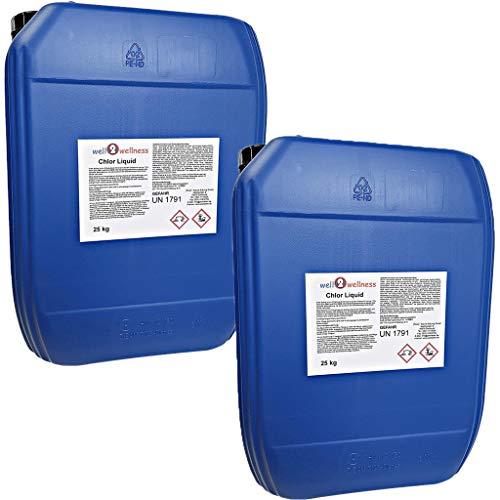 well2wellness Chlor flüssig stabilisiert/stabilisierte Chlorbleichlauge - 2 x 25 kg Kanister