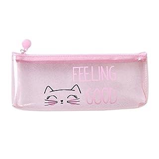TAOtTAO Pink Transparent Pencil Case Cosmetic Bag Makeup Pouch Pencils Box (B)