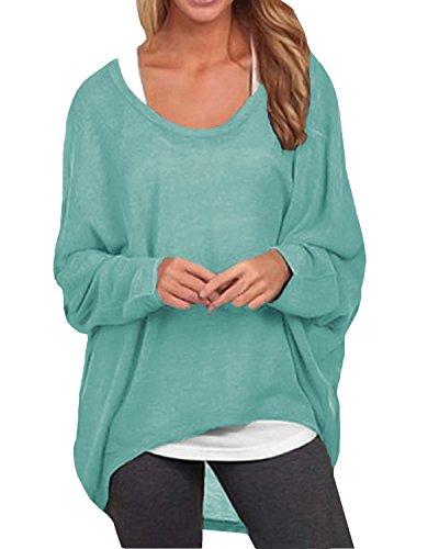 ZANZEA Damen Lose Asymmetrisch Jumper Sweatshirt Pullover Bluse Oberteile Oversize Tops (EU 38-40/Etikettgröße M, Grün)