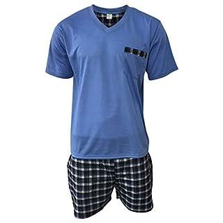 Lavazio Herren Pyjama Schlafanzug Shorty 2-Teiler T-Shirt Uni Hose im Karolook kurz 2-TLG in 5 Farben - Exclusiv, Größe:M, Farbe:blau