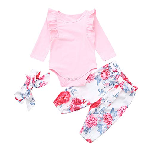 TTLOVE Kid Xmas Neugeborenes Baby Mädchen Kleidung Strampler Fester Overall-Spielanzug + Blumendruck-Hosen+Stirnband Outfits Set(Rosa,90) (Disney Princess Christmas Pyjamas)