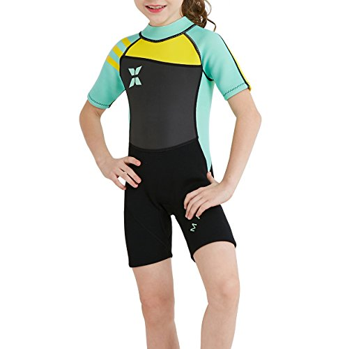 GWELL Jungen Mädchen Kinder Neoprenanzug 2.5MM Neopren Kurzarm Warmhaltung UV-Schutz Tauchanzug Badeanzug für Wassersport Grün S