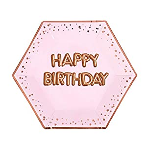 Neviti- Glitz and Glamour Pink & Rose Gold-Large Plate-Happy Birthday Papel, Color Pink/Rose, 27 x 0.5 x 27 (774380)