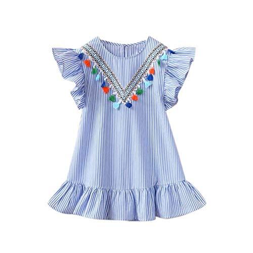 KOKOUK Baby Girls Stripe Tassel Ruffles Princess Dresses, Baby Girls Toddler Baby Girls Sleeveless Casual Dress for 2-7 Years Baby -