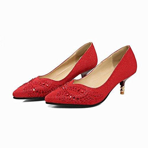 MissSaSa Femmes Escarpins Chaussures Pointues pour Printemps et Eté Rouge