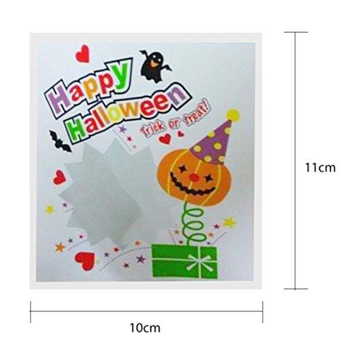 HKFV 100 pcs Happy Halloween Candy Bag Snack Packet Taschen Plastik Children Household Kid Garden Home Decor Handwerk Taschen (C) (Halloween Candy Bag Handwerk)