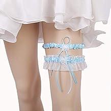 Strumpfband mit Band Schleife /& Perlen Herz Weiß Blau Elfenbein Hochzeit Braut