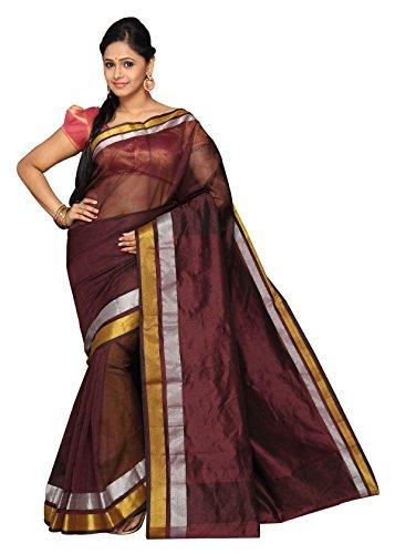 Pavecha's Banarasi Cotton Net Silk Solid Saree - MKG No 948 Brown MK1327  available at amazon for Rs.422