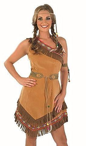 Fancy Me - Costume Cowboys et Indiens Pocahontas Modèle Femme Grande Taille - Marron, 48-50
