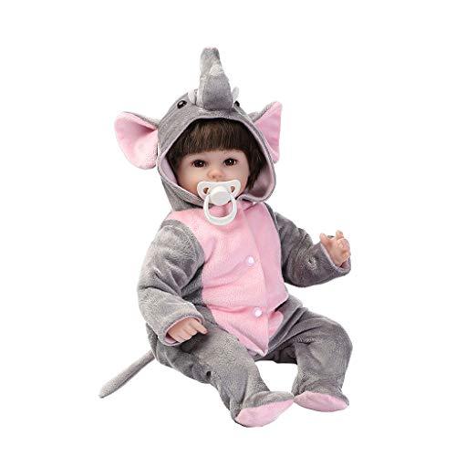 Xuniu 16 Zoll wiedergeboren Puppe, Kinder Spielzeug Playmate lebensechte simulierte Geschenke Elefant niedlich Lange Nase Vinyl weichen sitzen Overall Hoodie Outfit Puppen