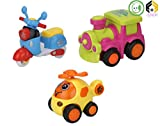 #4: Aarushi Friction Powered Cars Push and Go Scooter, Helicopter, Train Vehicles Toys Gift for Kids (Pack of 3)
