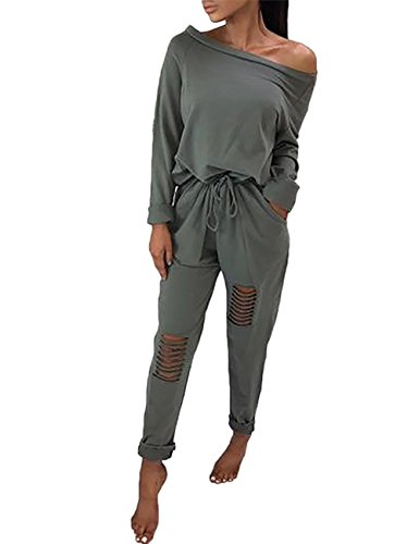 Longwu Frauen Casual Off-Schulter Kordelzug Overalls Knie Loch Hosen Party Club Rompers Jumpsuit Armeegrün-L