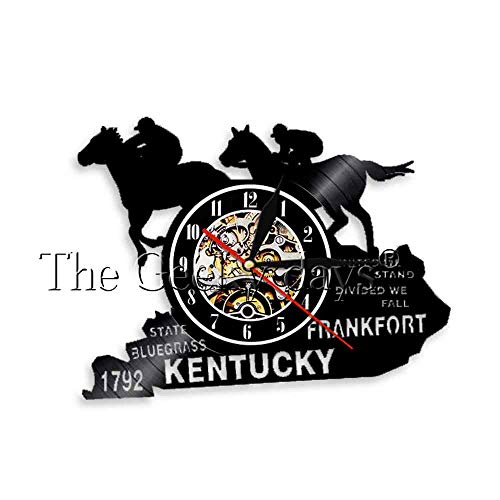 y Wandkunst Wanduhr Racing Horses Schallplatte Wanduhr Kentucky Horse State Churchhill Downs Derby Party Dekor, ohne LED ()
