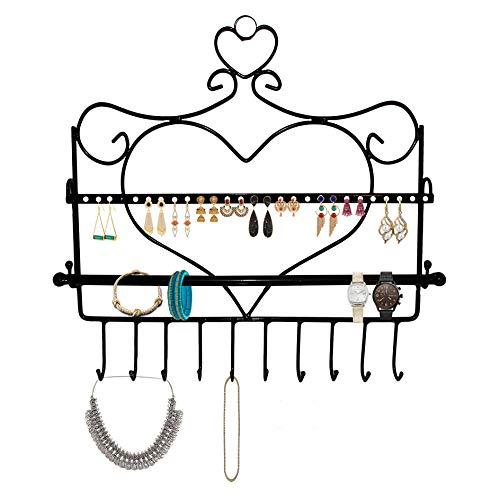 BELLE VOUS Schmuck Organizer Display zum Aufhängen - 10 Haken, 28 Löcher - Herzförmiger Schmuckhalter aus Metall zur Wandmontage - Schwarz (B34cmxH35cm) Ohrringe, Armbänder, Armbänder
