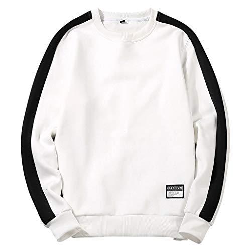Xmiral Herren Sweatshirt Rundkragen Pullover Lange Ärmel Einfarbig Buchstabe Drucken T-Shirt Herbst Beiläufig Patchwork Slim Fit Bluse Tops(a Weiß,XL)