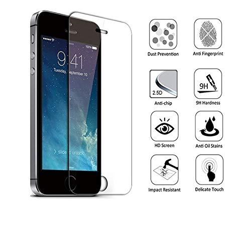 Pro-Mobile 2 er Pack Panzerglasfolie für Apple iPhone 5 / 5S / SE Schutzglas Glasfolie 2,5 D,9 H Panzer,Echt-Glas iPhone 5 / 5S / SE