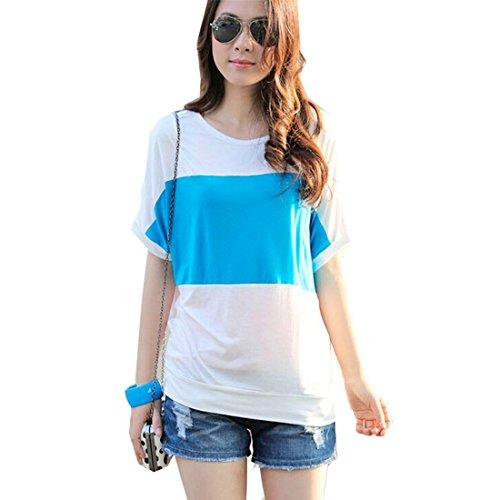 QIYUN.Z Gestreifte Kurzschlusshuelse O-Ausschnitt Frauen Baumwollsommer Beilaeufige Lange Shirt T-Shirt Blau