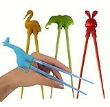 Unique Boutique - 4er Set Essstäbchen Tiere für Anfänger Kinder Senioren Chopsticks Elefant Giraffe Pelikan Vogel Hase Bunny
