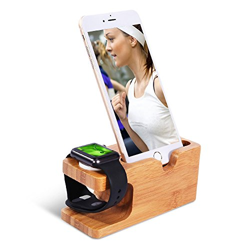 Apple Armbanduhr Stand (38 und 42 mm) | Bambus Holz Ladestation Dock Ständer Halterung für Apple Watch, iPhone X 8 7 6S 6 Plus SE Samsung Galaxy LG HTC Blackberry Huawei etc. Big Button Bild Telefon
