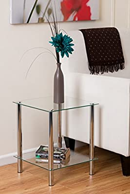 Crystal Clear Glass and Chrome / Steel 2 Tier Square Shelf Coffee End Table Storage - inexpensive UK light shop.
