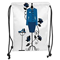 GONIESA Drawstring Sack Backpacks Bags,Heels and Dresses,Mannequin in Tailors Shop with Blooming Flower Retro Classical Decorative,Blue Black White Soft Satin,5 Liter Capacity,Adjustable String