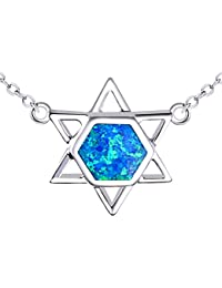 KELITCH Manta Ray Fish Shape Sea Animal Pendant 925 Sterling Silver Plated Created Opal Necklace